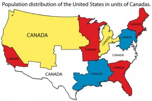 "The population density of Canada is incredibly low compared to the United States. This map is a great way to visualize the difference between the two countries. You could fit the entire population of Canada into each area on the U.S. marked ""Canada."""